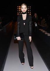 jacket,blazer,all black everything,fashion week 2016,pants,bra,bralette,amanda steele,NY Fashion Week 2016