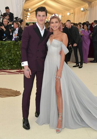 shirt suit menswear mens shoes shawn mendes hailey baldwin red carpet dress gown prom dress off the shoulder dress off the shoulder met gala met gala 2018