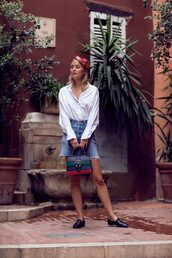 skirt,headband,tumblr,mini skirt,denim skirt,denim,shoes,loafers,shirt,white shirt,bag,gucci,scarf