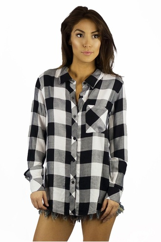 blouse plaid fashion black and white long sleeves fall outfits casual black trendy freevibrationz free vibrationz
