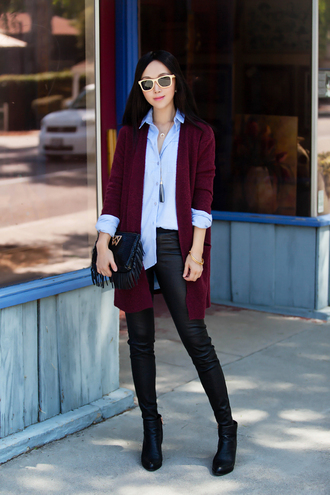 fit fab fun mom blogger oxblood fall outfits blue shirt cardigan black leather pants leather pants black pants shirt burgundy fringed bag fringes