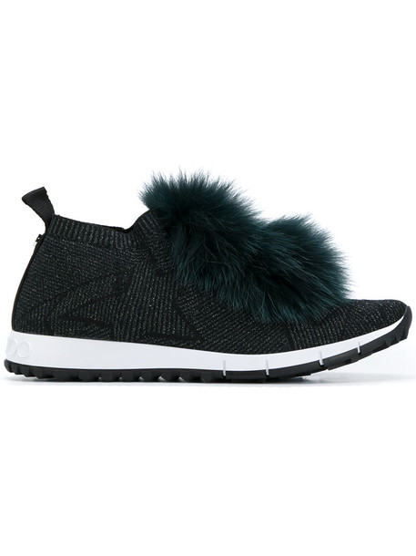 fur fox women spandex sneakers leather black shoes