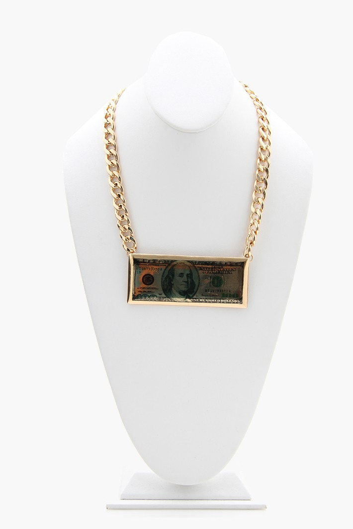 100 Dollar Bill Necklace - Gold