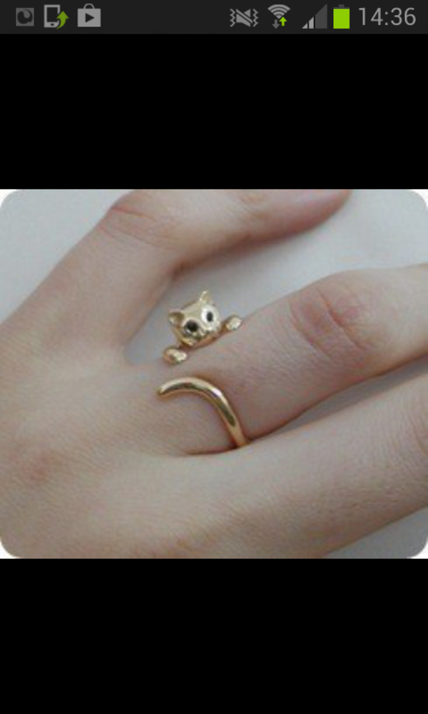 jewels ring gold jewelry cats cute