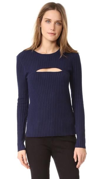 Frame Overlap Rib Sweater - Navy