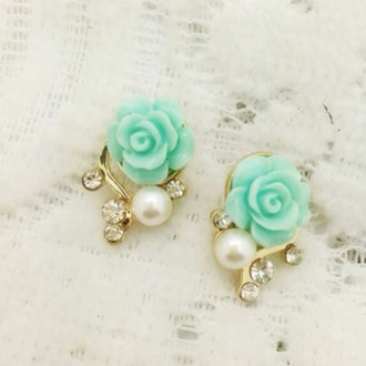 dress rose flowers mint aqua jewels jewelry pearl rhinestones
