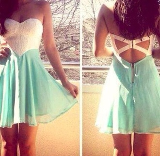 dress blue and white cut-out cute summer dress no strops light blue