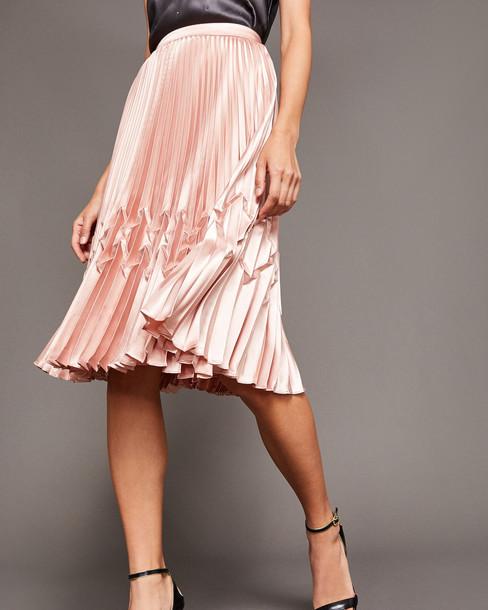 skirt midi skirt pleated rose gold rose midi gold