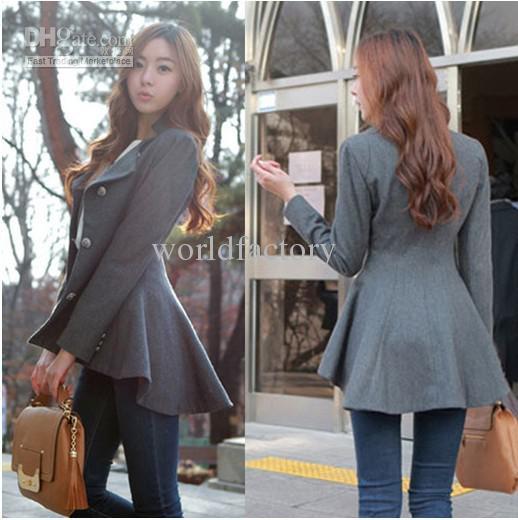 Buy fashion women korean dovetail slim wool coat ladies designer irregular long blazer winter outwear 2013, $32.5
