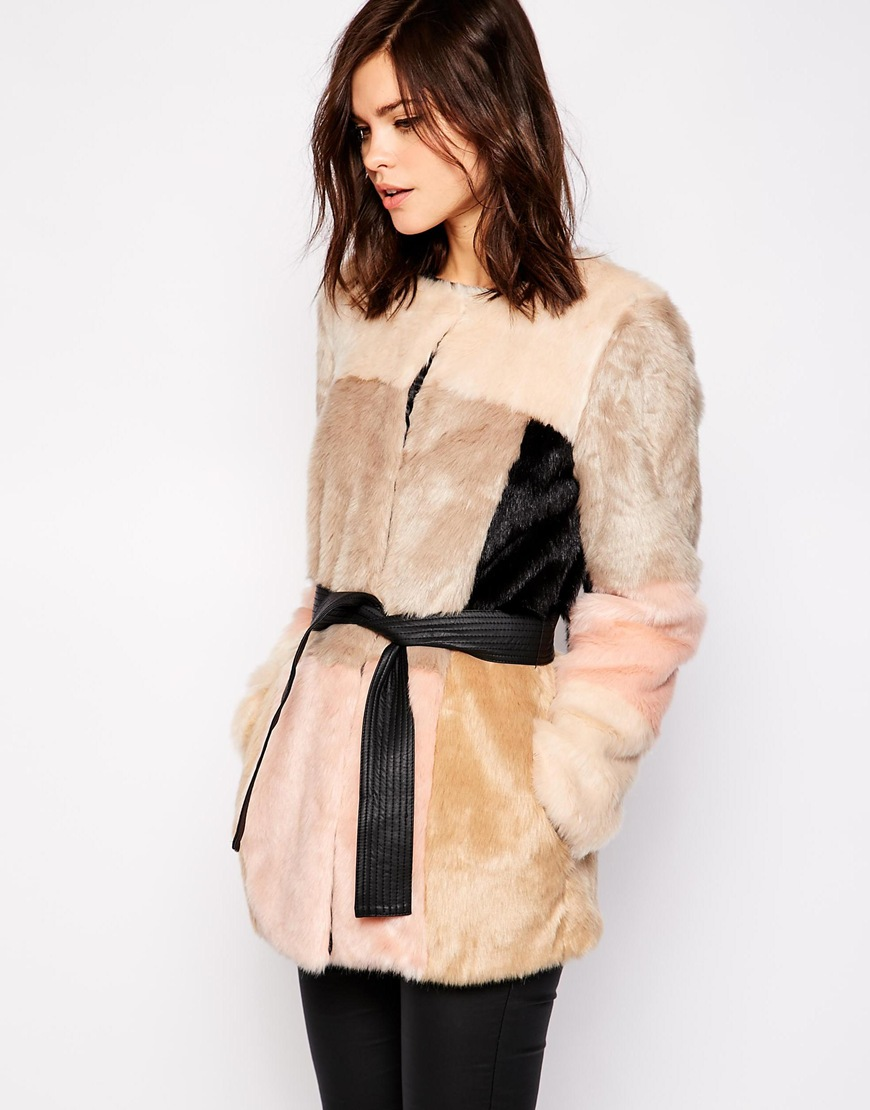 Colourblock Belted Fur Coat at asos.com
