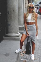 skirt,grey,dress,tank top,shirt,white crop tops,grey skirt,jogger skirt,summer,fashion,maxi,long,maxi skirt,midi-skirt,long skirt,chlotes,white,white air force ones,nike,shoes,white shoes,style,crop tops,cool outfit,t-shirt,bag,gold,watch,gold watch,nike air force 1,grunge,top,colors: grey and or black,grey and white,fashion coolture,sportswear,sports shoes,sporty,pencil skirt,baddies