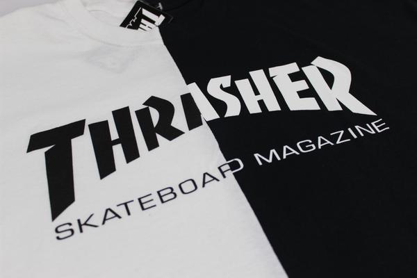 Thrasher Skate Mag Half   Half One Off T-Shirt White Black a5a389294