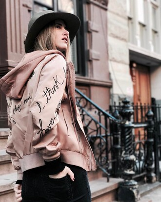 jacket tumblr pink jacket bomber jacket pink bomber jacket hoodie pink hoodie felt hat hat embroidered jacket embroidered denim jeans black jeans