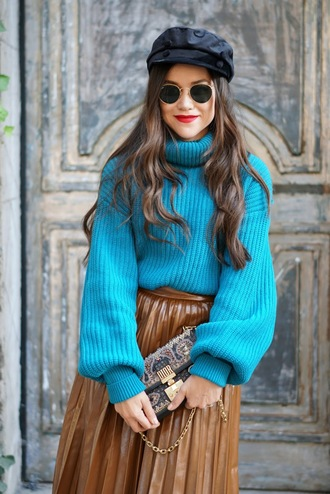 sweater tumblr blue sweater turtleneck turtleneck sweater hat fisherman cap bag round sunglasses knit knitwear knitted sweater