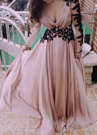 dress long sleeve dress pink lace prom v neck