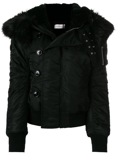 jacket hooded jacket fur faux fur women cotton black wool