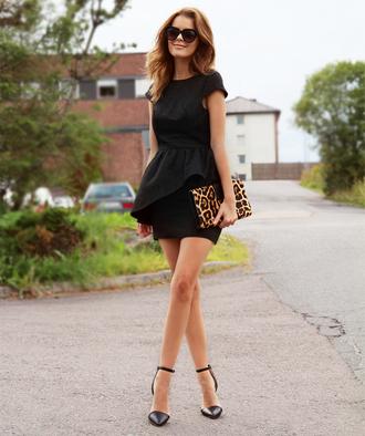 bag leopard print clutch shoes dress black dress preppy dress black