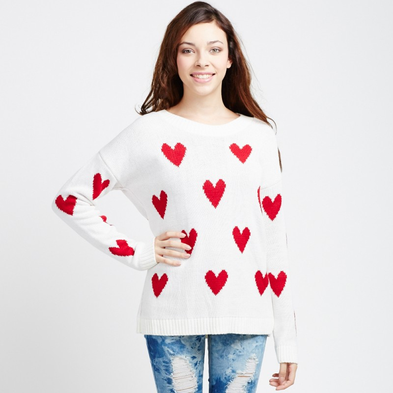 white Sweater - Cream & Red Heart Print | UsTrendy