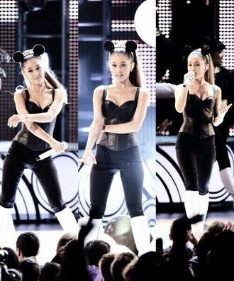 jeans hair accessory top shirt tank top ariana grande black leather skin-tight