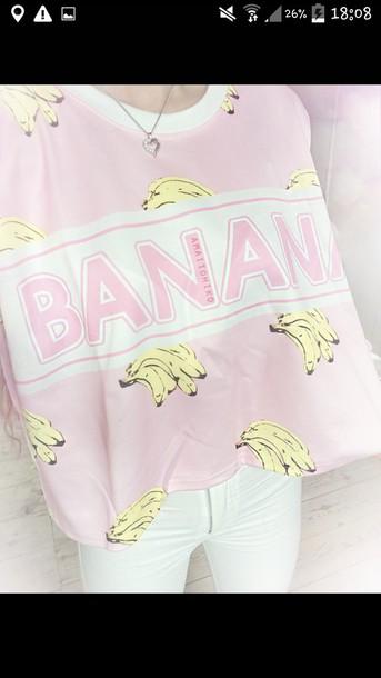 t-shirt rose banana print