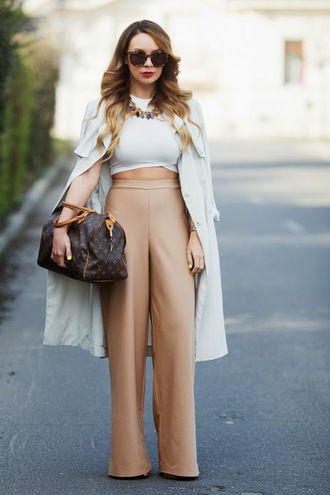 cashmere in style blogger coat top pants bag jewels shoes sunglasses