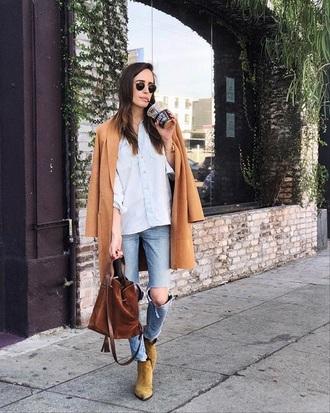 shoes white shirt camel coat boots suede boots jeans blue jeans shirt coat bag brown bag