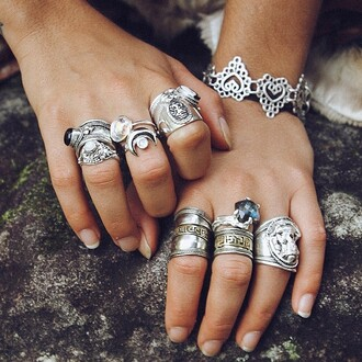 jewels ring silver rings crystal rings boho boho jewelry