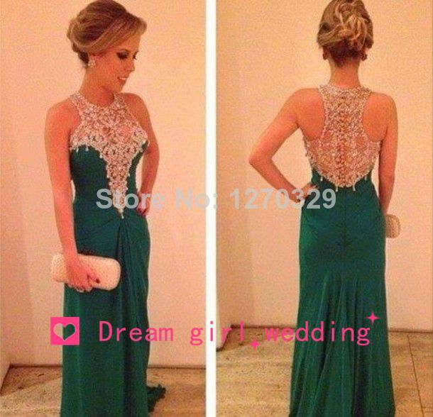 Aliexpress.com : buy 2014 new coming green prom dress a line chiffon beaded squins crystals high collar back transparent formal evening gown from reliable dresses rhinestones suppliers on dream girl wedding