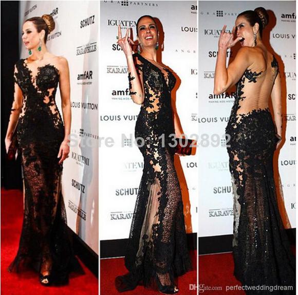 one shoulder black evening dress sheer dress appliques v-neck aliexpress.com