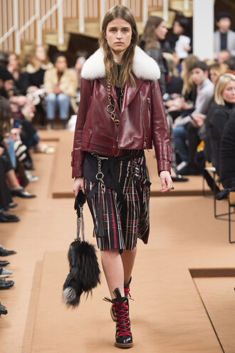 jacket midi skirt boots fall outfits purse milan fashion week 2016 model runway fashion week 2016 biker jacket tod's