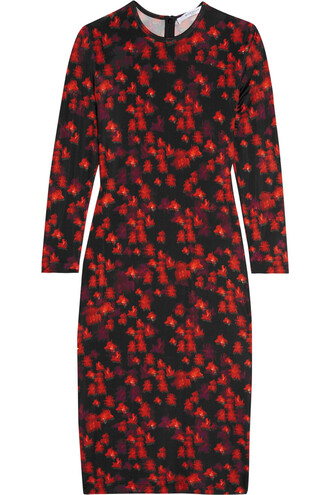 dress floral print black red