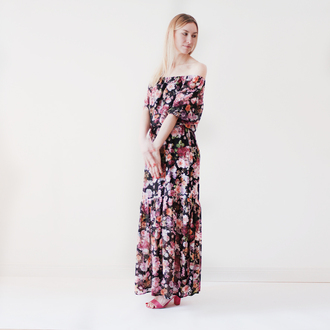 dress flowers floral dress floral flowers print vintage flowers off shoulder off the shoulder maxi dress mary kate olsen bohemian boho boho style boho chic romantic garden dress garden floral chiffon chiffon dress hippie
