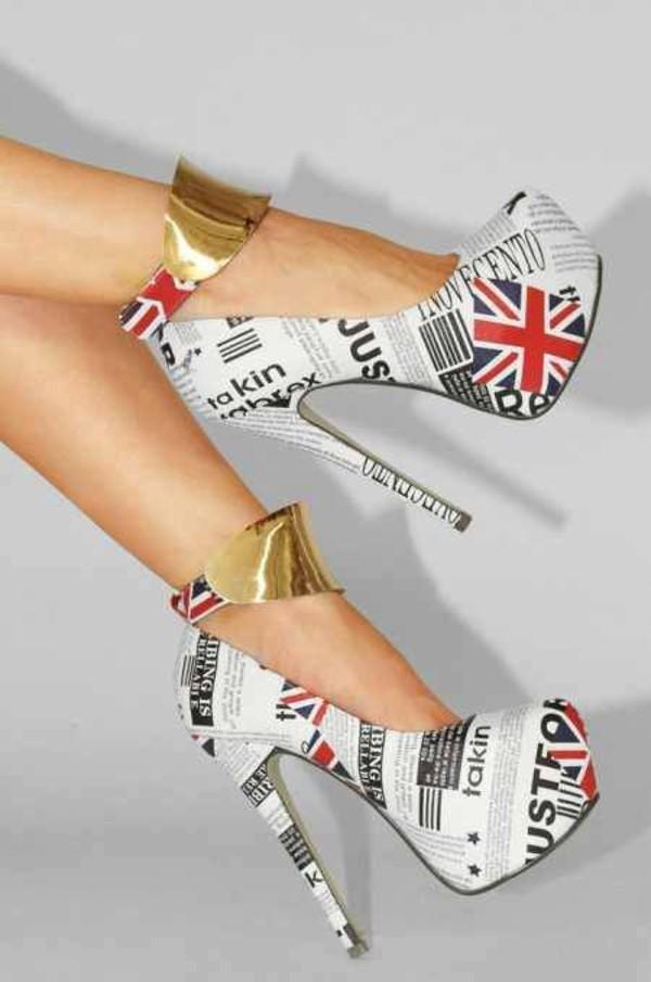 shoes heels high heels pumps union jack stilettos
