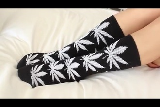underwear socks weed socks huf socks black and white urban hipster vans boho indie