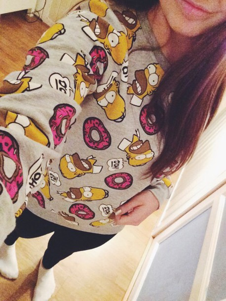 top sweater sweatshirt homer the simpsons pink cool love pullover donut jumper pajamas