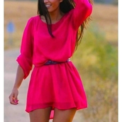 romper,pinterest,pink,neon dress,neon,neon pink,cute dress,hot pink,revolte