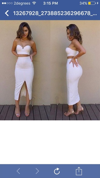 dress two-piece two piece dress set strapless slit dress strapless dress summer dress summer outfits girly dress cute dress midi midi dress bodycon dress bodycon date outfit birthday dress party dress sexy party dresses sexy dress clubwear club dress pool party