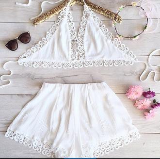 jumpsuit haute rogue crochet set summer set romper summer cute white jumpsuit white romper twhite jumpsuit halter top high waisted shorts summer shorts summer top two-piece crochet top