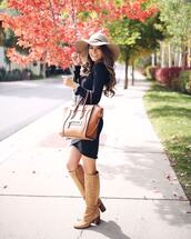 dress,midi dress,long sleeve dress,wrap dress,black dress,felt hat,over the knee,handbag,high heels boots
