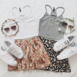 top crop tops grey skirt white