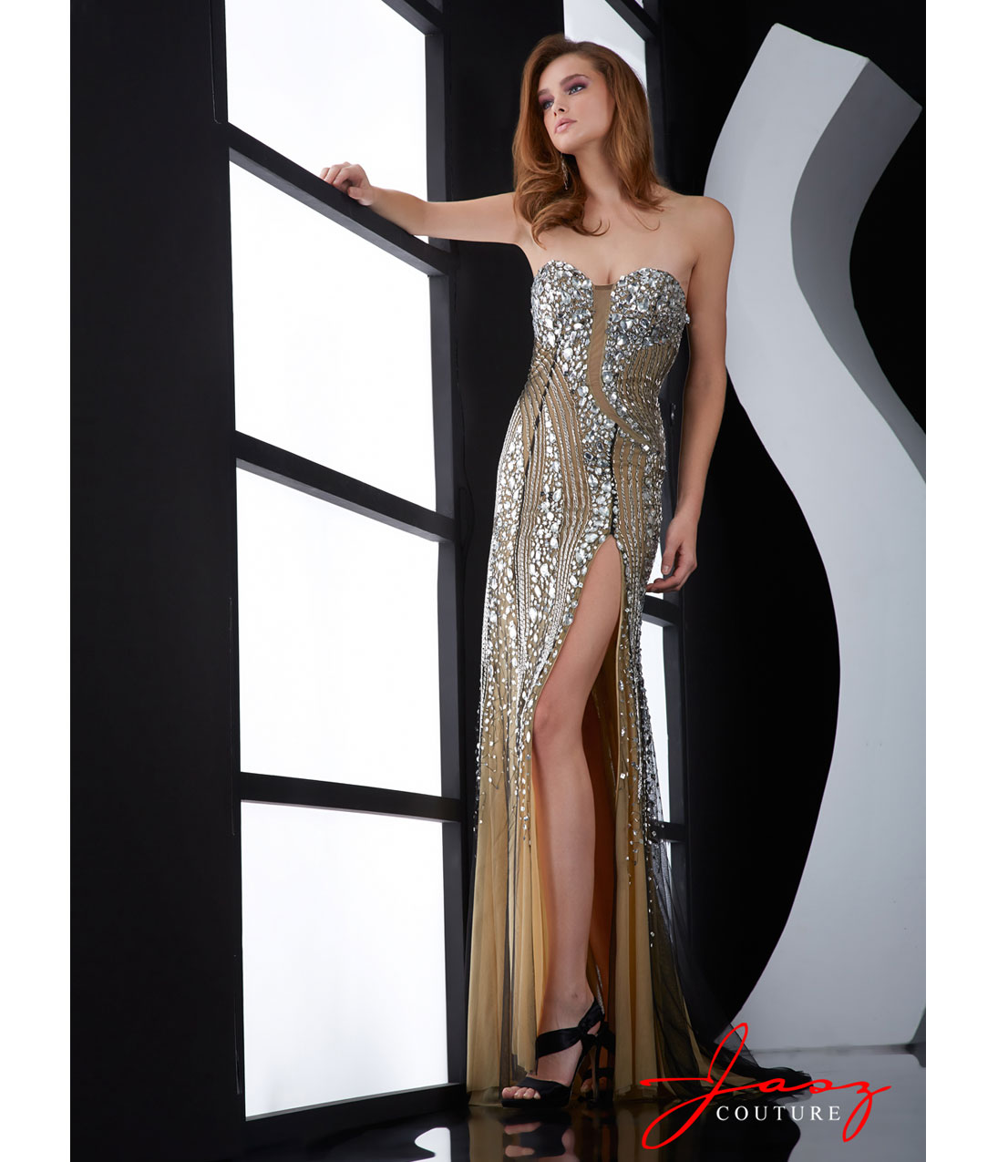 Jasz Couture 2014 Prom Dresses - Black & Silver Beaded Strapless ...