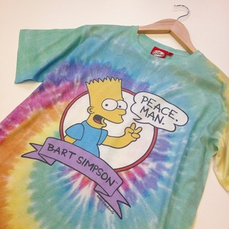 t-shirt tie dye tie dye shirt yellow green blue pink bart simpson hippie peace