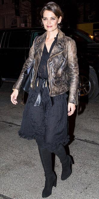 jacket midi dress katie holmes boots biker jacket