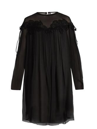 dress lace silk black
