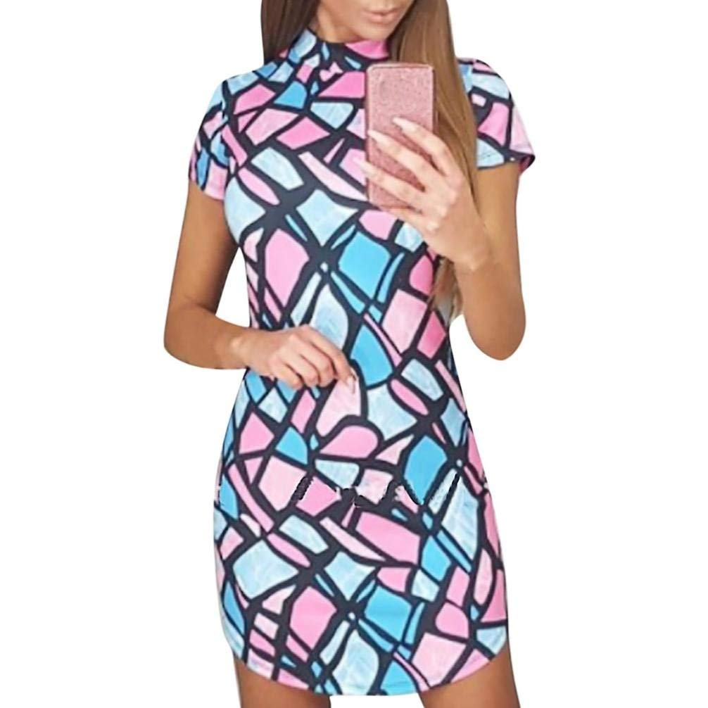 Clearance!Fashion Women Casual Short Sleeve Colorful Geometric Printing Bodycon Mini Dress at Amazon Women's Clothing store: