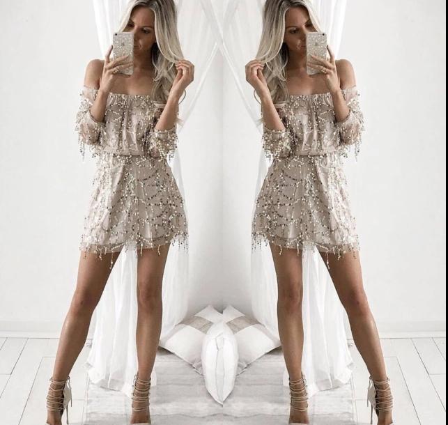 Off the shoulder gold sequin dress