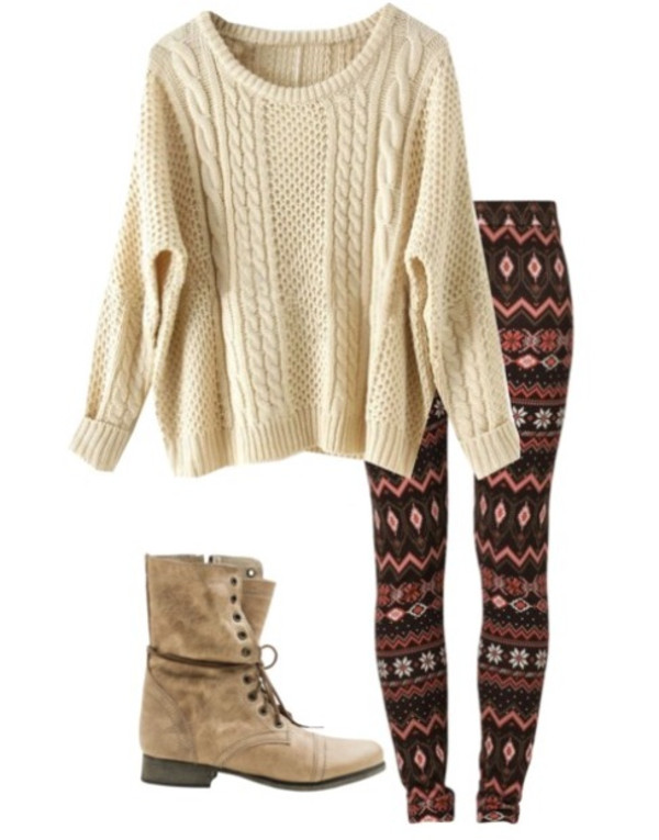 sweater leggings combat boots pants shoes Tan combat boots