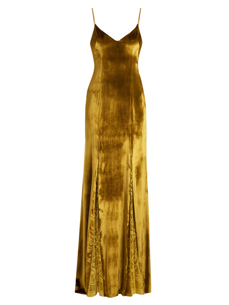 Galvan gown lace velvet gold yellow dress