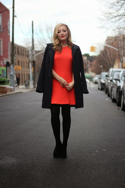 Dress: rach martino, blogger, red dress, black coat, tights, shoes ...