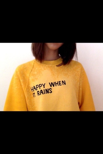 sweater yellow tumblr jumper cute boho vintage summer rain quote on it black warm sweater shirt style sweater weather